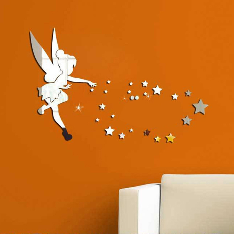 Funlife Tinkerbell Fairy Princess with Stars Letter Mirror Wall Sticker,70x46cm  27.5x18inch DIY kids