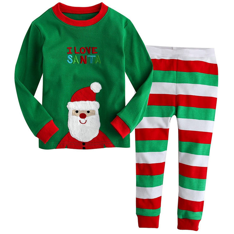 2017 Children Christmas Autumn Clothing Set I Love Santa Baby Boys ...