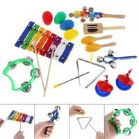 17pcs Set 9 Kinds Musical Instruments Toy Set 8 Tone Xylophone Percussion Toys For Children Kids
