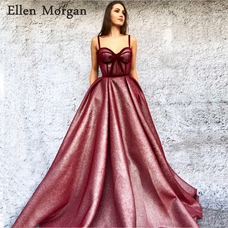 Long Burgundy   Prom     Dresses   with Sweetheart Neck Zipper Floor Length Straps Shiny Fabric Custom Made Evening Party Gowns 2019