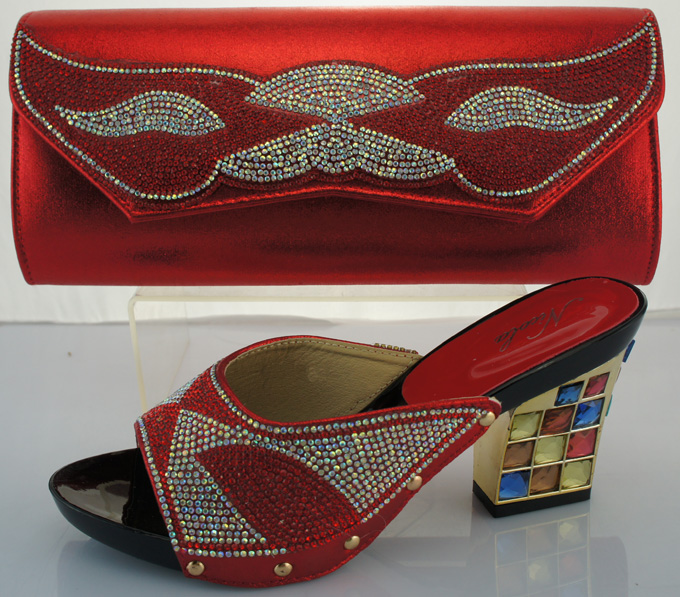 ФОТО Nigerian Party Shoes And Bag Set Wedding Shoes And Bag High Heels African Shoes And Matching Bag Set For Woman ME2217