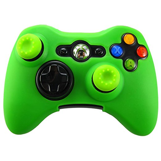 Green Protective Silicone Ultra Soft Skin Case +2pcs Joystick Thumb Stick Silicone Caps for Xbox 360 Controller - Green