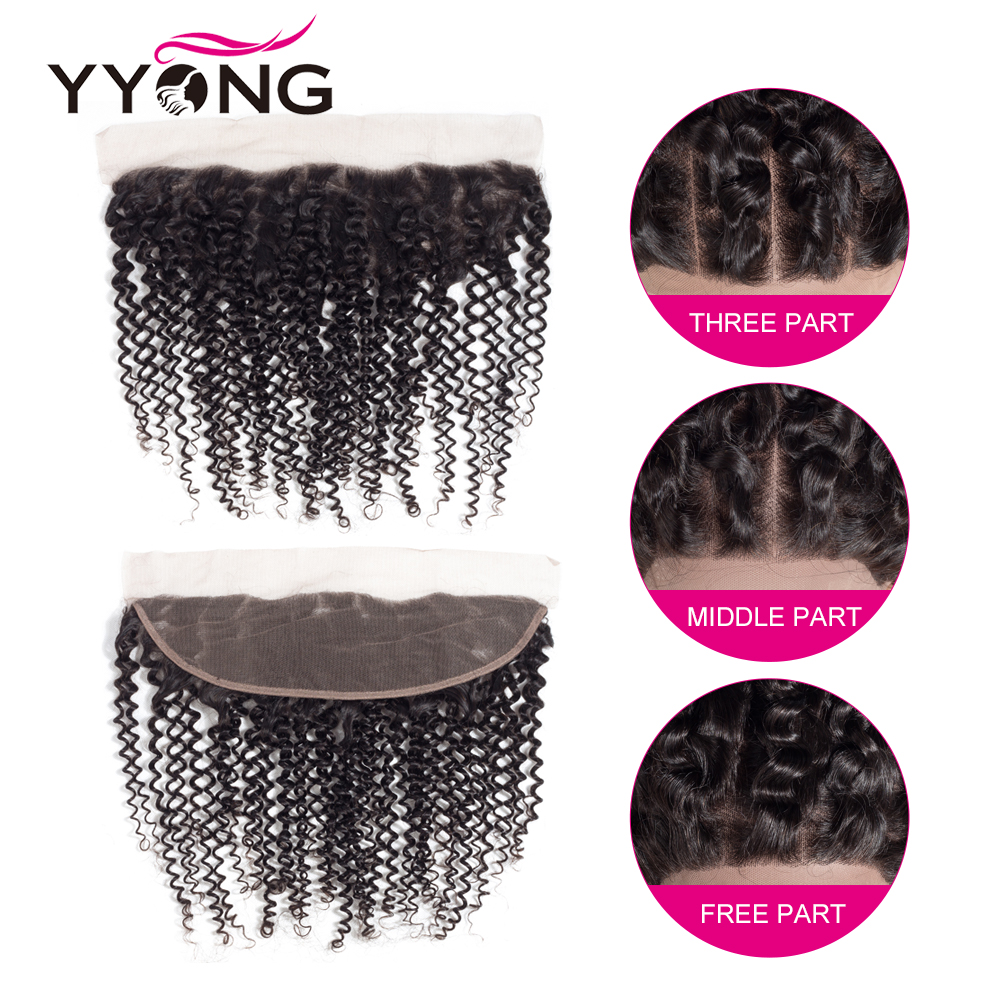 Yyong 3  Hair Bundles With Frontal  Kinky Curly   Pre Plucked Lace Frontal Closure With Bundles 13x4 6