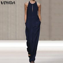 VONDA Summer Rompers Womens Jumpsuits Bohemian Overalls Casual Loose Straight Pa