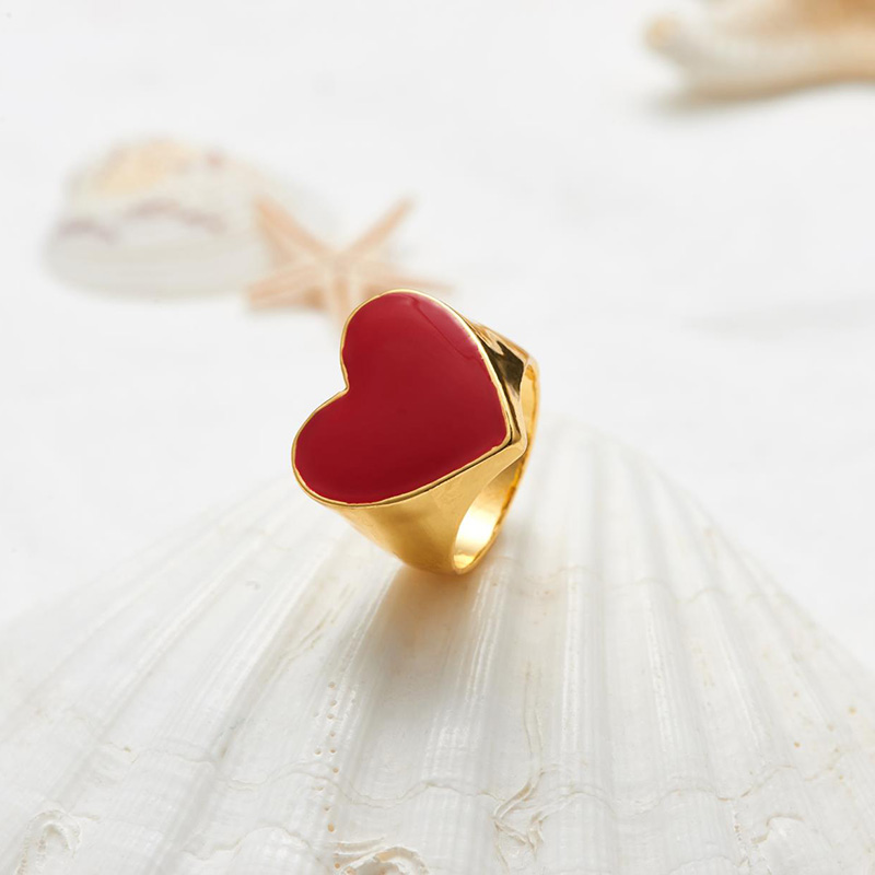 19 New Arrivals Must Have Vintage Gold Color Red Heart Rings For Women Minimalist Party Knuckle Rings Size 7 5