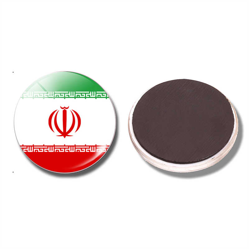 The Islamic Republic of Iran Flag 30 MM Fridge Magnet Iran Flag Glass Dome Magnetic Refrigerator Stickers Note Holder Home Decor