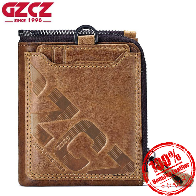 Gzcz Men Short Wallet Genuine Leather Luxury Fashion Coin Small Purse Card Zipper Hasp Male Clutch Bags Clamp For Money