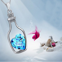 New Arrive Red Blue Crystal In Drift Bottle Necklace Jewel Alloy Necklace For Women For Party(China)