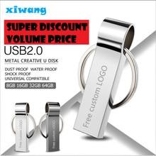 New usb flash drive 64gb metal pendrive 8gb silver USB stick 32gb waterproof pen drive 16gb USB memoria disk 128gb 4gb free logo цены онлайн