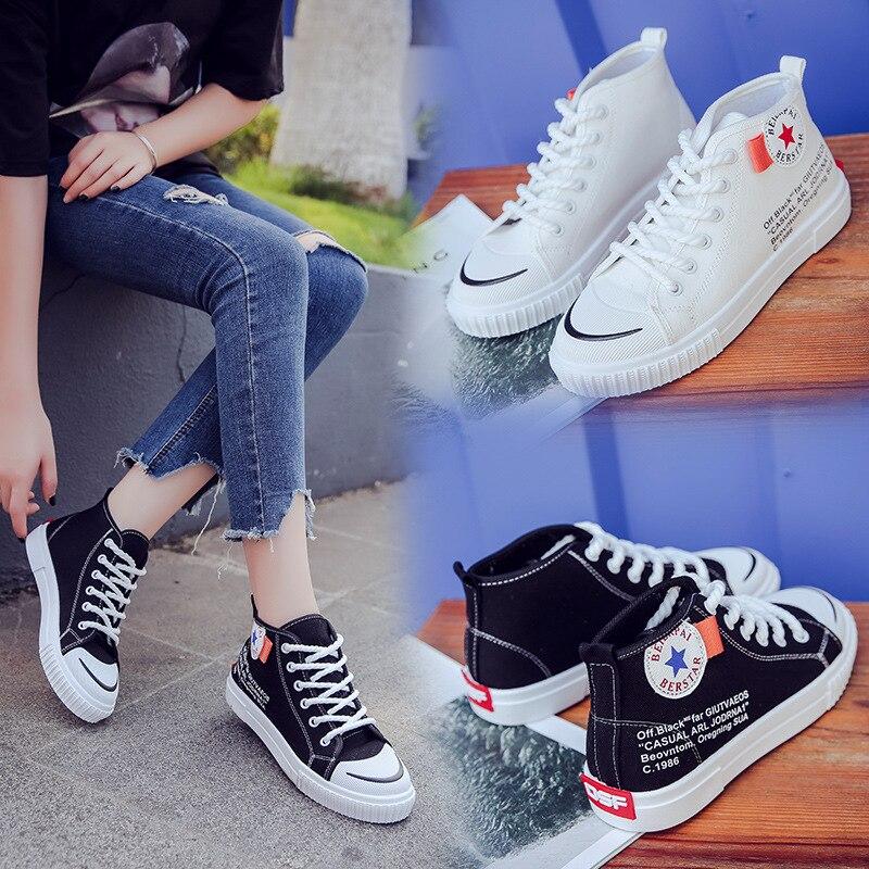 Round Toe Korean Canvas Teenager Girl Ladies Women Shoes White Harajuku Ulzzang Outdoor Casual Lace Up Mocassim Feminino