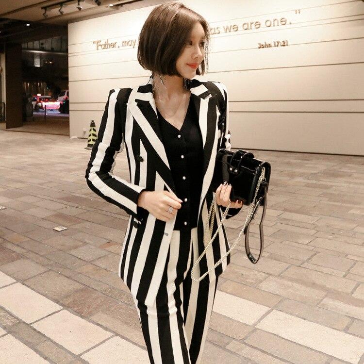 Cross-border Suit Spring Autumn 2019 Striped Suit Jacket Two-piece Set Striped Pants Suit