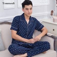 Мужской пижамы мужской 100% хлопок лето короткий рукав длина брюки кардиган с коротким рукавом гостиная комплект