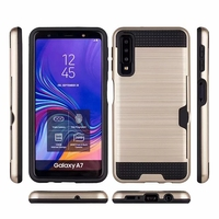 10pcs Hybrid TPU+PC Armor Case For Samsung Galaxy S10 A7 A6 A8 PLUS J4 J6 J7 J8 2018 Card Holder Slot Silicon Phone Back Cover