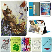 New 2017 For iPad 9.7'' Tablet Case Flip PU Leather Stand Cartoon Animal Owl Cat Tree Cover For Apple ipad 9.7 2017 Fundas Coque