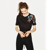 Achiewell 2018 Summer New Ladies Tops Shoulder Embroidered Black T Shirt Spanish Style Flower Short Sleeve