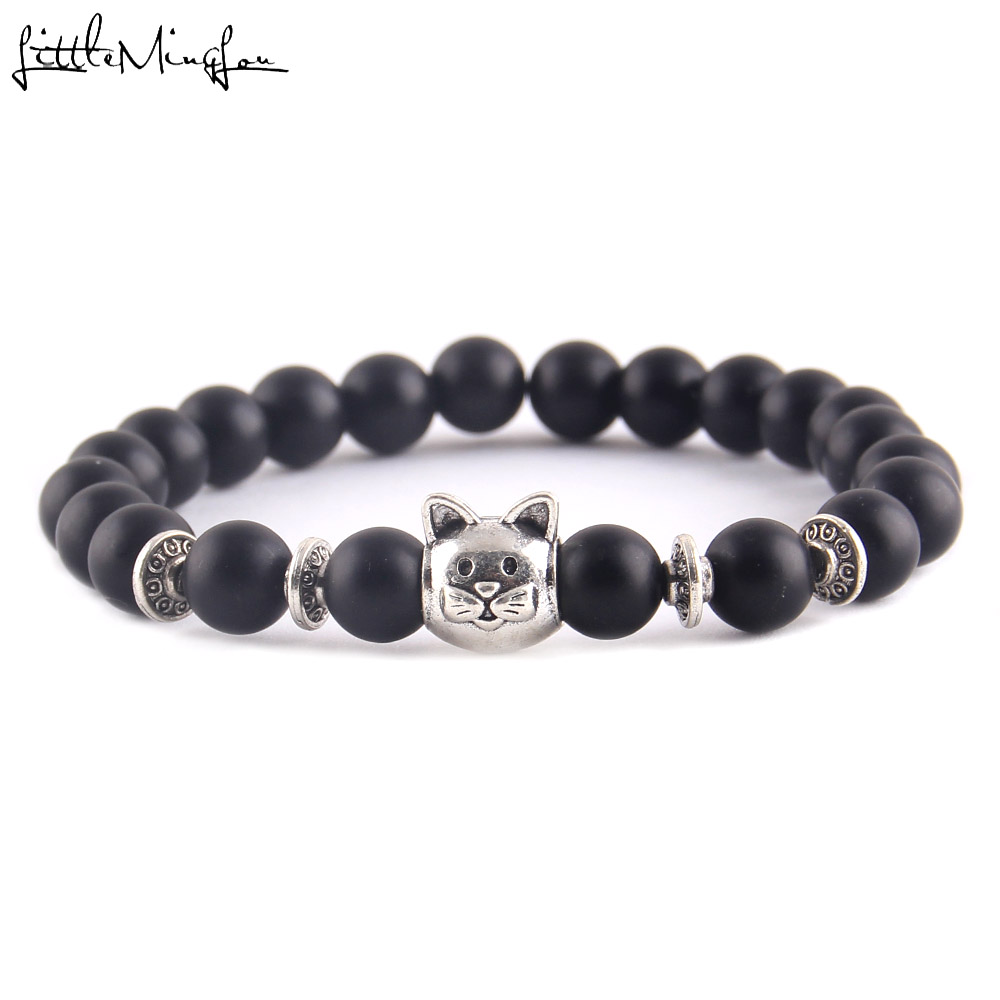 Little MingLou Fashion Trendy Cute Cat Charm men bracelet Lava Natural Stone 8mm Beads yoga Bracelets Bangles for women Jewelry
