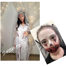 Dropshipping 30g Halloween Jurk Make Wax Met Schraper Nep Litteken Wond Huid Body Gezicht Schilderen Make Up Tool SMJ(China)