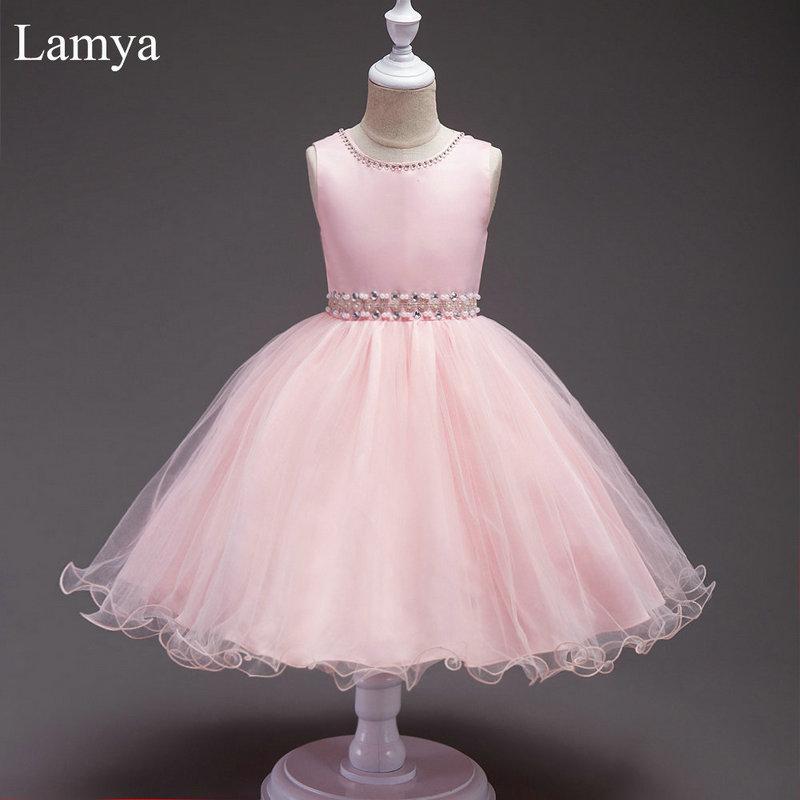 LAMYA Pink Short Ball Gown Flower Girl Dress Kids Pageant Beading Dress For Wedding Party First Communion Dresses For Girls