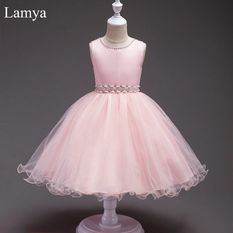 LAMYA Pink Short Ball Gown   Flower     Girl     Dress   Kids Pageant Beading   Dress   For Wedding Party First Communion   Dresses   For   Girls