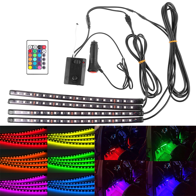 LED Strip Light RGB for Car 7 Colors Car Styling Atmosphere Lamps Car Interior Light With Remote and With Sound Music Controller