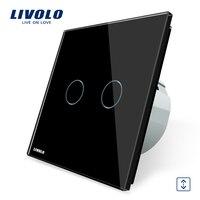 Free Shipping EU Standard VL C702W 12 Livolo Black Crystal Glass Panel Curtain Switch Gangs 1