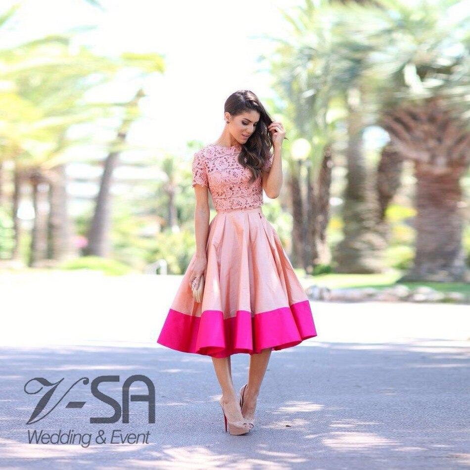 Mix-Color-Lace-Tea-Lenght-Formal-Wear-Women-Dress-Patch-Modest-Evening-Party-Dresses-Short-Cap