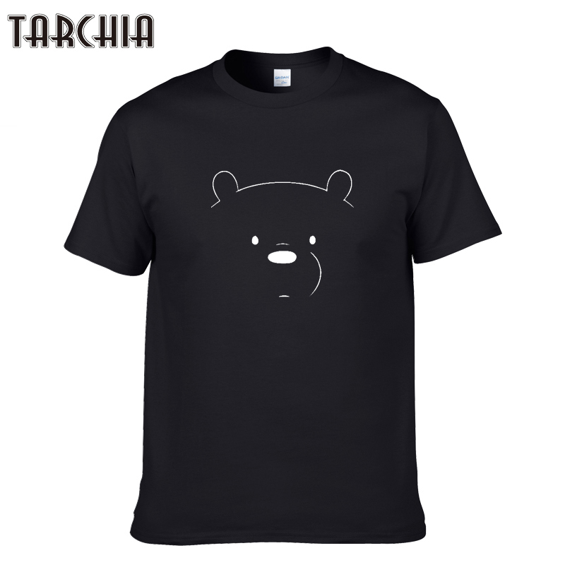 TARCHIA 2018 New Fashion Summer Short Sleeve Men Tshirt Casual Slim Youths Men's T Shirts Male Bear Print Cotton Tees Tops Homme