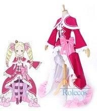 Beatrice Re: Cero Isekai kara Hajimeru Seikatsu Caliente Rosa Cosplay Vestido de anime Japonesa de dibujos animados