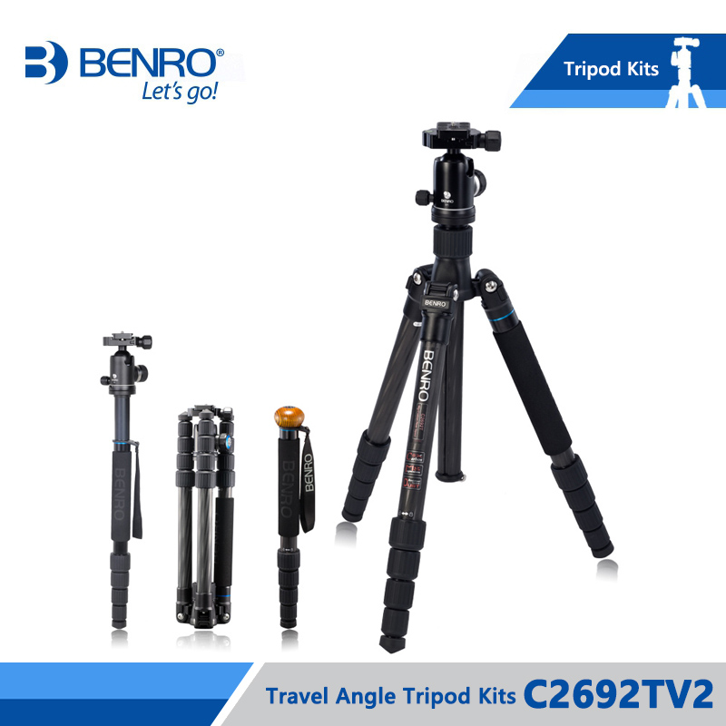 Benro C2692TV2 Tripod Carbon Fiber Tripods Monopod For Camera With V2 Ball Head Carrying Bag Max Loading 16kg DHL Free Shipping