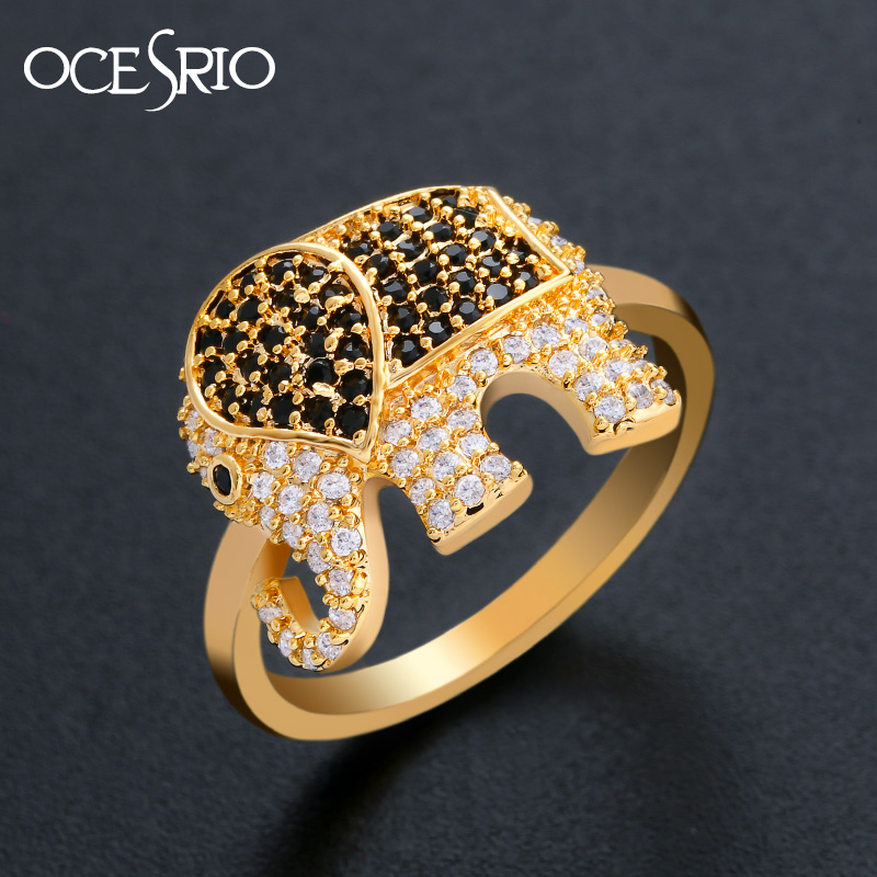 OCESRIO Fancy Zirconia Gold Rings for Women Cubic Zirconia Crystal Black Animal Gold Elephant Ring jewellery bague femme rig-h17 jewellery