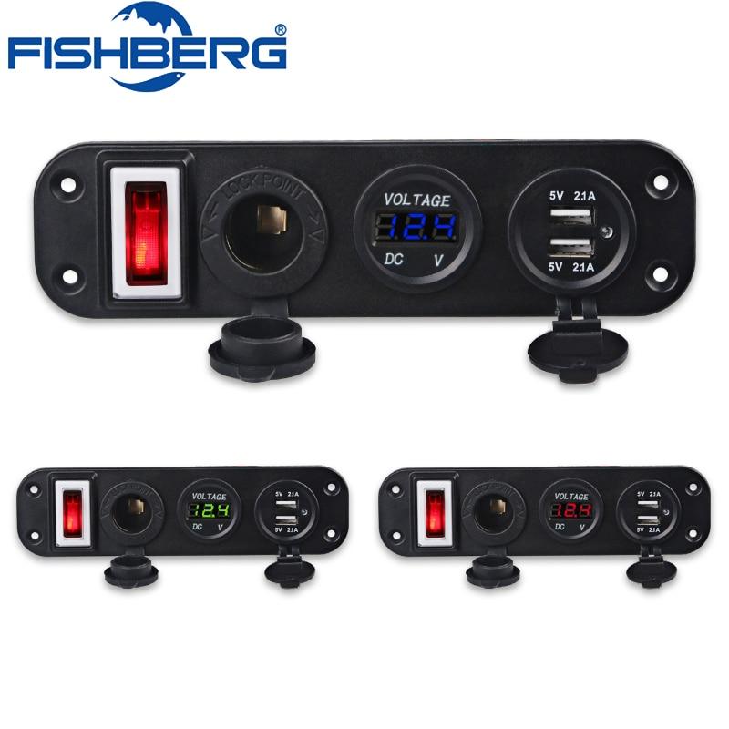 5V 4.2A Dual USB Charger Socket LED Voltmeter 12V Power Outlet Cigarette Lighter Socket Adapters ON-Off Toggle Switch Panel