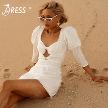 INDRESSME Women Sexy Hollow Out Half Sleeve Beach Dress Bodycon Mini Backless Party Club Vestidos 2019 New Summer
