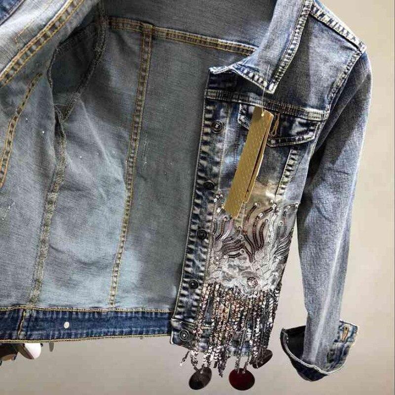 Blue Mode De Dames Vêtements Appliques Effiloché Nouveaux Femme Slim Veste Sequins Gland Chaînes Manteau Perles Denim Femmes Revers Jeans Unqqw76Aa5