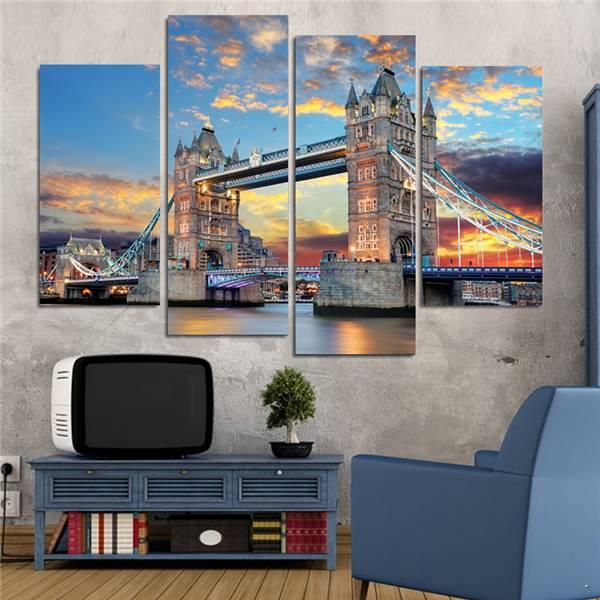 Home Decoration Picture 4 pieces London Tower Bridge Canvas Print Canvas Painting Home Decor Wall Art Pictures