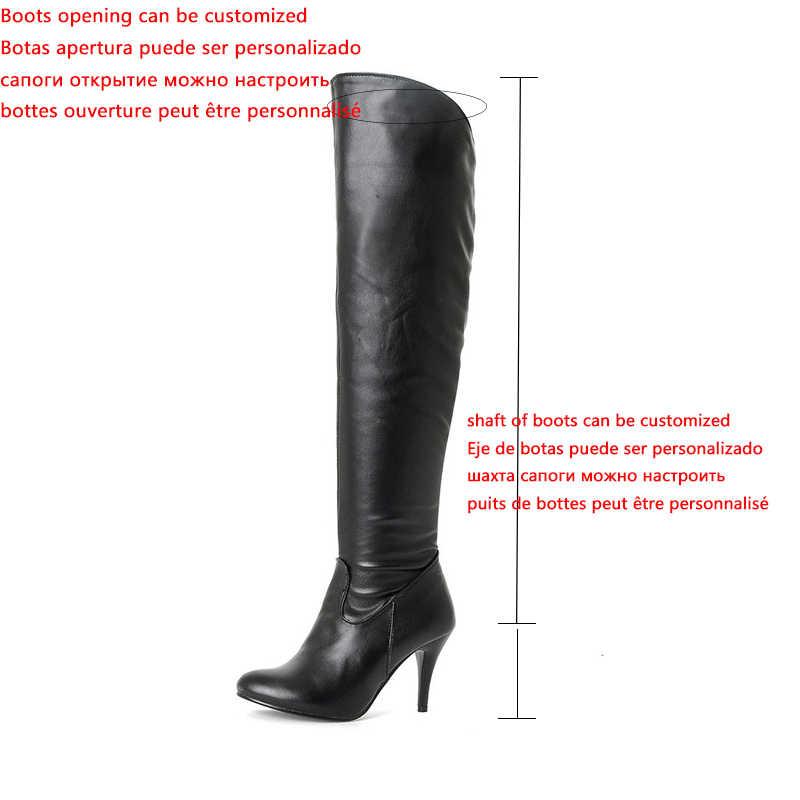 Karinluna klasik dropship büyük boyutları 50 ince yüksek topuklu kadın ayakkabısı kadın 2019 seksi parti kadın diz yüksek çizmeler kadın