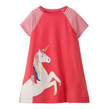 Littlemandy Girls Dresses Yellow Dog Appliques Summer Princess Dress Brand Baby Clothes Short Sleeve Tunic 2019