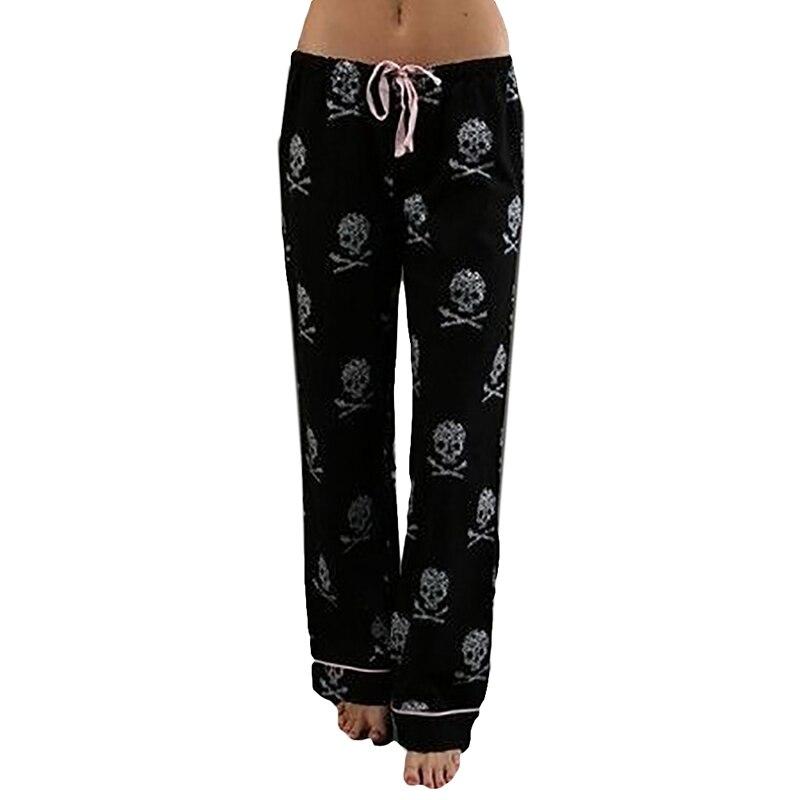 2017 Femmes Pantalon Casual Taille Basse Évasé Jambe Large Pantalon Long Palazzo Pantalon Crâne Imprimé Pantalon de Pyjama À La Maison