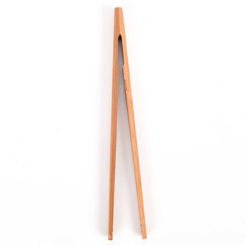 1 個 18 センチメートル Kongfu を木の色茶器具ピンセット茶クリップ竹ピンセット質感竹