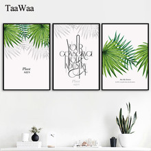 Minimalist Nordic Green Plant Poster Tropical Leaves Canvas Painting Quote Wall Art Picture for Living Room Home Decoration