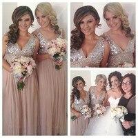 Бесплатная доставка! Высокое качество ню обратно шифона блестки длинные платья выпускного вечера платье невесты невесты горничной платье