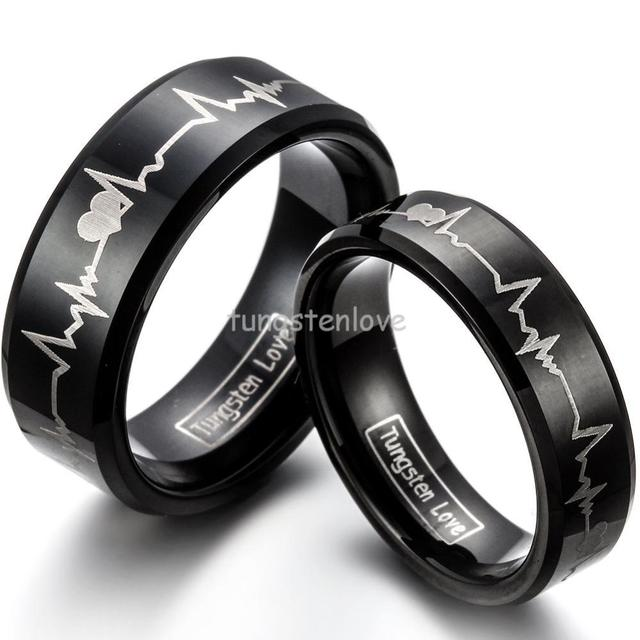 1 Piece New Black Tungsten Carbide Ring With Laser Engraved Forever