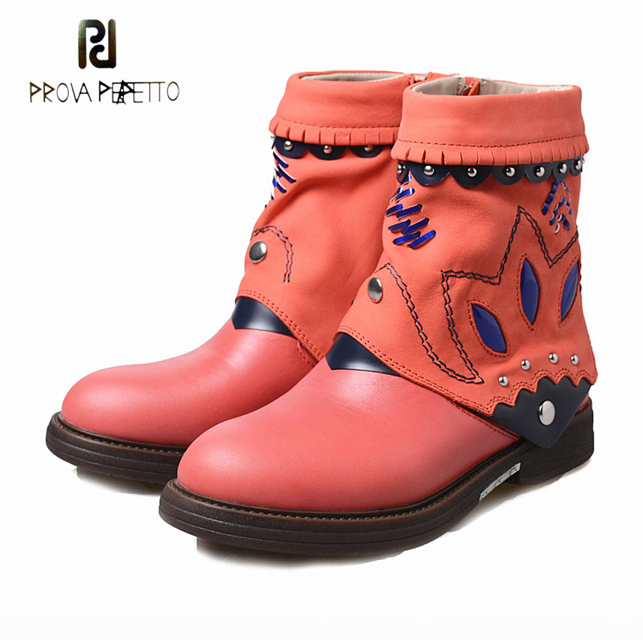 Prova Perfetto high quality handmade women ankle boots rivet genuine leather mixed color gladiator boots thick sole rubber shoes цены