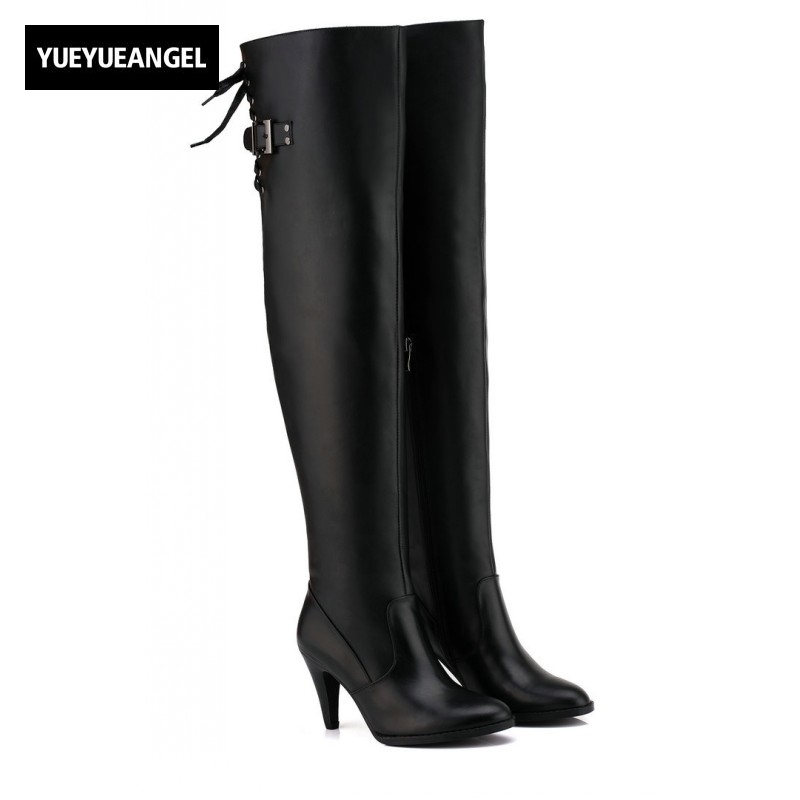 Large Size Genuine Leather Boots Round Toe Over Knee Boots High Heel Belt Buckle Knight Boots Fashion Strap Lace Up Womens Shoes nayiduyun new fashion thigh high boots women genuine leather round toe knee high boots high heel party pumps casual shoes