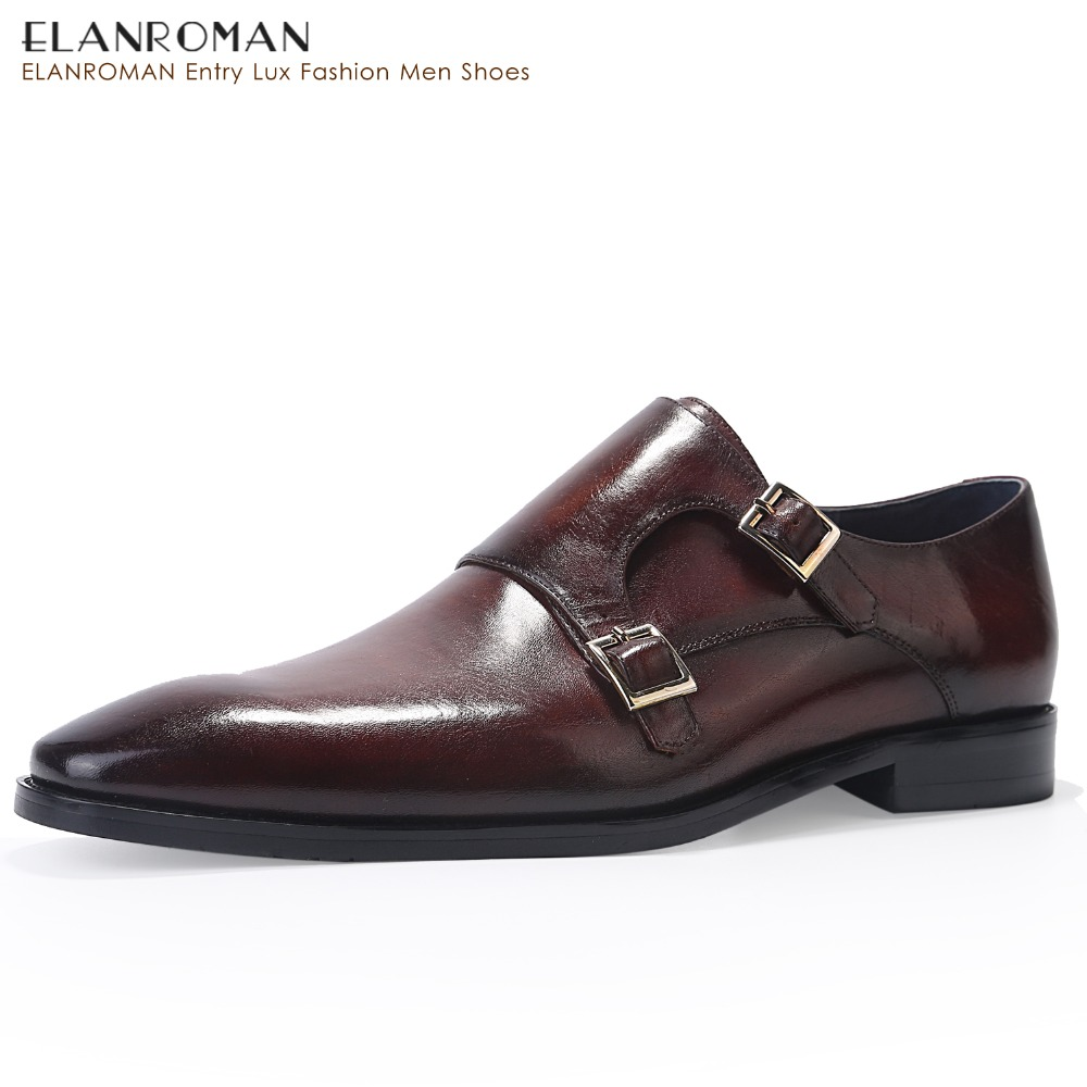 ELANROMAN Men Dress Shoes Luxury Brand New fashion Double Monk Strap Height Increase Handmade Ital Men Formal Shoes racing competition swimsuits women one piece quick dry bathing clothing high quality girl s print slim swimwear plus size s 5xl