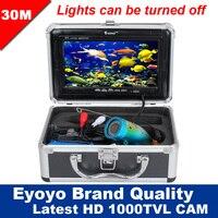 Eyoyo оригинал 30м профессиональная камера рыбоискатели подводная рыбалка видео 7 HD монитор 1000TVL hd камера свет управления
