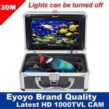 """Eyoyo Original 30 mt Berufs Fish Finder Unterwasserfischen Videokamera 7 """"HD Monitor 1000TVL HD CAM Lichter Control"""