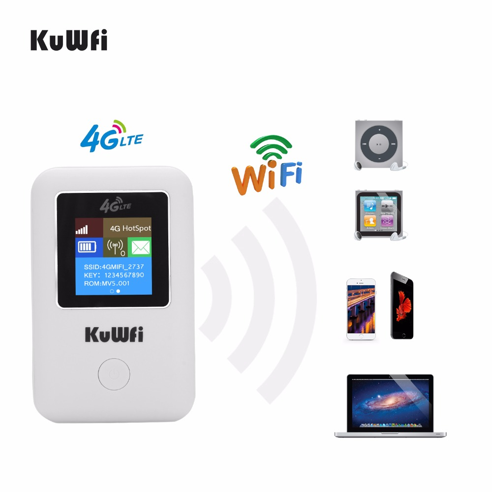 KuWFi Mini 4G LTE WIFI Router Unlocked Portable 3G/4G Wifi Router Modem Car Wi fi Router With Sim Card Slot-in 3G/4G Routers from Computer & Office