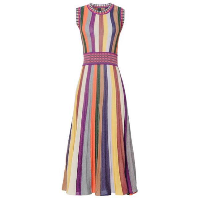 Zomer Mode Vrouwen Knitwear Regenboog Gestreepte Trui Jurk O-hals Mouwloze Mid Kalf Geplooide Slanke Jurk