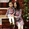 Семья установлены Отцовства рубашка Европейский Американский цветок печати платье мать дочь с длинными рукавами мама и девочки соответствующие платья