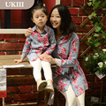 Family fitted Paternity shirt European American flower print dress mother daughter long sleeves mommy and girls matching dresses